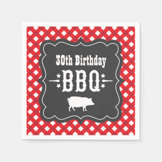 BBQ Gingham Plaid Napkins   Red and Charcoal Black Standard Cocktail Napkin