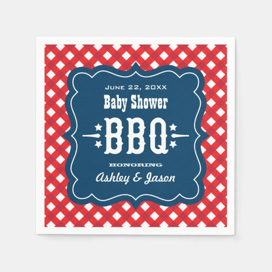 BBQ Gingham Plaid Napkins | Red White and Blue