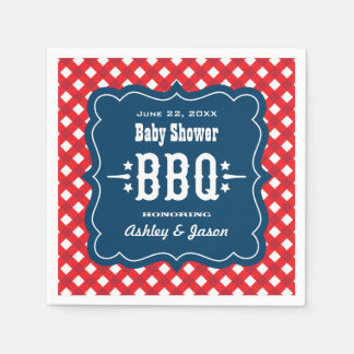 BBQ Gingham Plaid Napkins   Red White and Blue Standard Cocktail Napkin