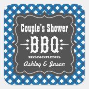 BBQ Gingham Plaid Sticker   Blue + Charcoal Black at Zazzle