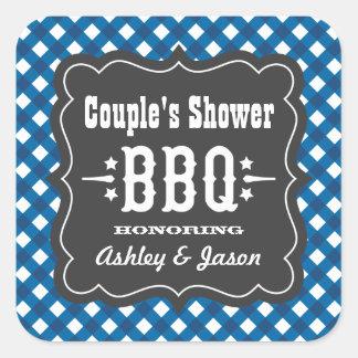 BBQ Gingham Plaid Sticker | Blue + Charcoal Black