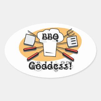 BBQ Goddess Oval Sticker