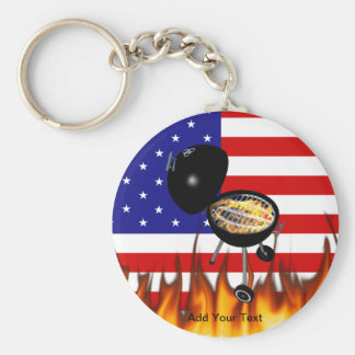 BBQ Grill and American Flag Design Basic Round Button Keychain