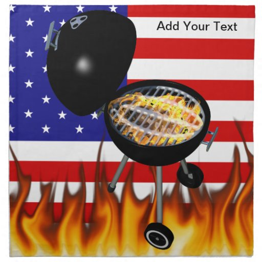 BBQ Grill and American Flag Design Printed Napkin