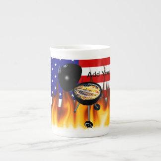 BBQ Grill and American Flag Design Bone China Mug