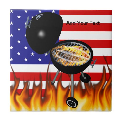BBQ Grill and American Flag Design Tile