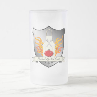 BBQ Grilling Coat of Arms Humourous Vector Design 16 Oz Frosted Glass Beer Mug