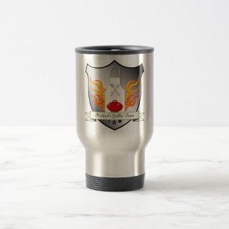 BBQ Grilling Coat of Arms Humourous Vector Design Travel Mug