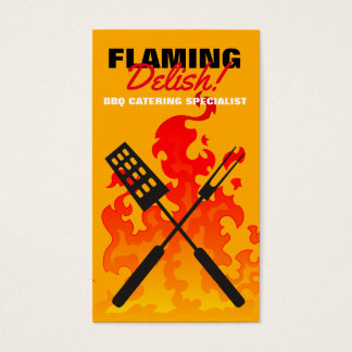 BBQ grilling tools utensils flames chef catering Business Card