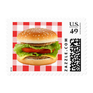 BBQ Hamburger Picnic Party Invite Postage Stamps