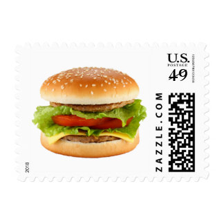 BBQ Hamburger Summer Party Invite Postage Stamps