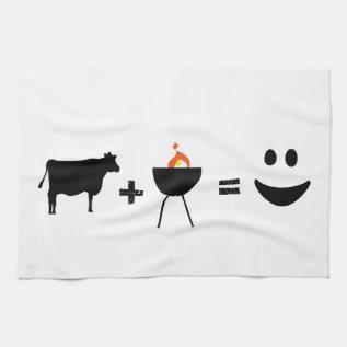 Bbq = Happiness Kitchen Towel at Zazzle