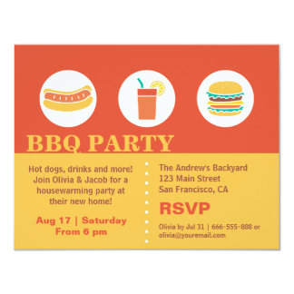 BBQ Hot Dog and Burger Housewarming Party Card