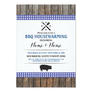 BBQ Housewarming Rustic Blue Hog Roast Wood Invite