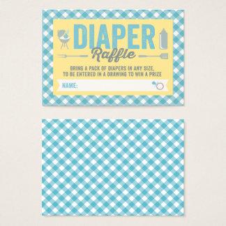 BBQ Icons Blue Checks Diaper Raffle Ticket Card
