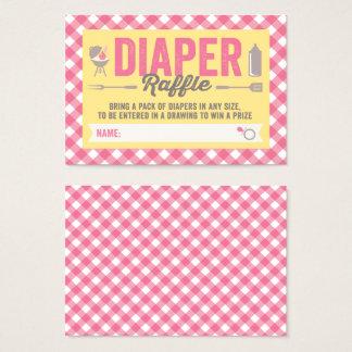 BBQ Icons Pink Checks Diaper Raffle Ticket Card