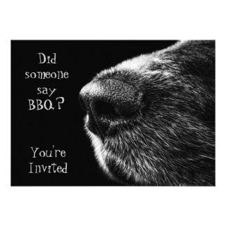 BBQ invitation dog nose black and grey