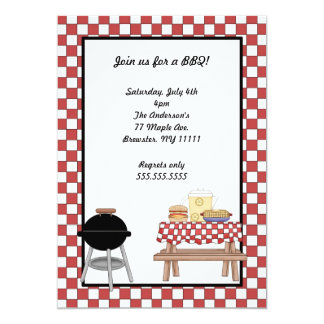 BBQ Invitation with grill and picnic table