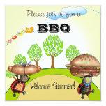 """BBQ invite 5.25"""" Square Invitation Card"""