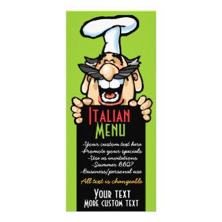 Bbq italiano de la pizza del menú del plantillas de lonas