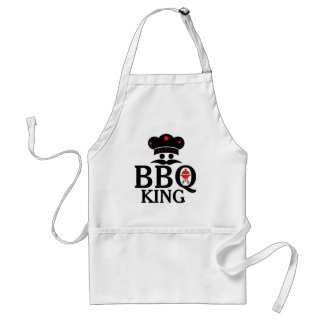 BBQ King Cute Text & Chef's Hat & Grill Adult Apron