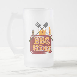 BBQ KING FROSTED GLASS BEER MUG