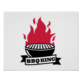 BBQ King red flame Poster