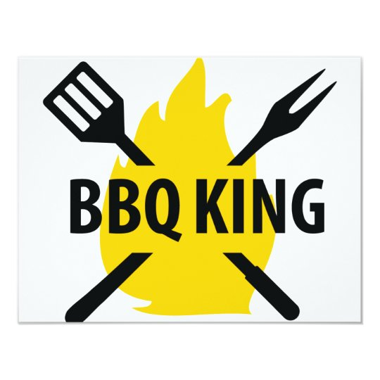 BBQ King with flame icon Card