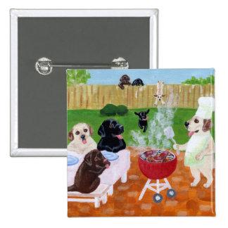 BBQ Labradors 2 Inch Square Button
