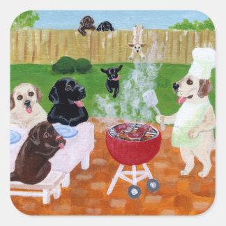 BBQ Labradors Painting Square Sticker