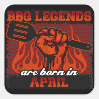 BBQ Legends are Born in April Square Sticker