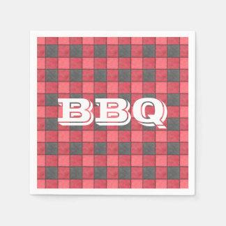 BBQ Monogram Red Check Paper Napkin