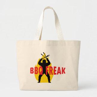 Bbq-Monstruo con los cubiertos y la llama Bolsa Tela Grande