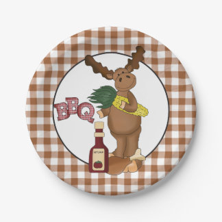 Bbq Moose cartoon party paper plate