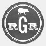 Bbq negro de la pizarra del sello el | del etiqueta redonda