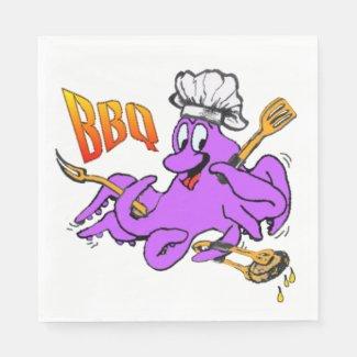 BBQ Octopus White Paper Napkins