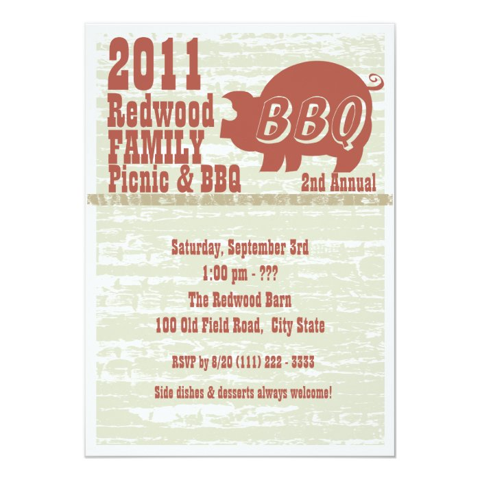 BBQ or Pig Roast Card