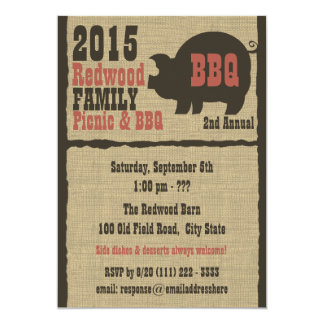 BBQ or Pig Roast Rustic Burlap Card