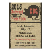 BBQ or Pig Roast Rustic Burlap Invitation