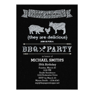 BBQ Party Chalkboard Style Custom Invite