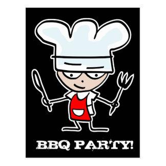BBQ party invitation postcards   Cartoon chef