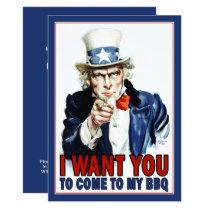 BBQ / Party Invitation: Vintage Uncle Sam Card