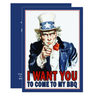 BBQ / Party Invitation: Vintage Uncle Sam Card