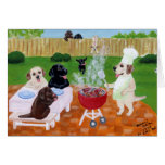 BBQ Party Labradors Greeting Cards