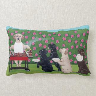 BBQ Party Labradors in the Azalea Garden Lumbar Pillow