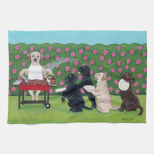 BBQ Party Labradors in the Azalea Garden towel