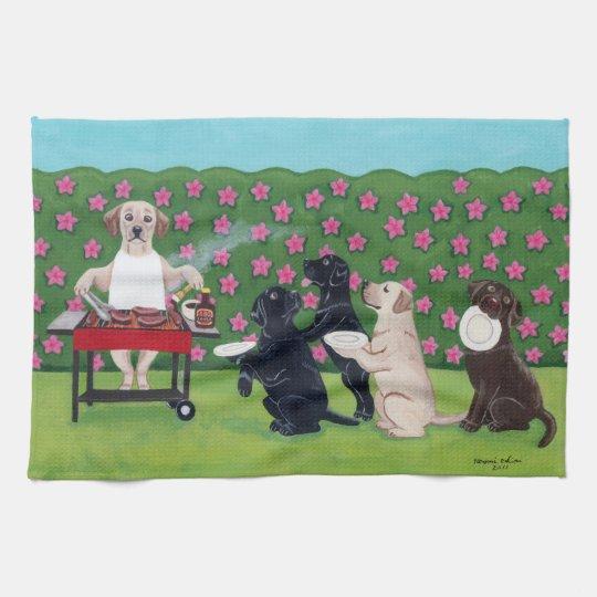 BBQ Party Labradors in the Azalea Garden towel