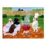 BBQ Party Labradors Postcard