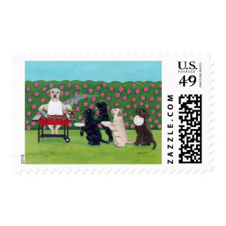 BBQ Party Labs in the Azalea Garden Stamp