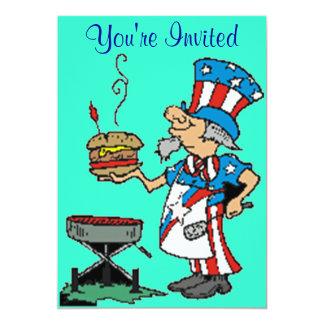 bbq patriotic invitation